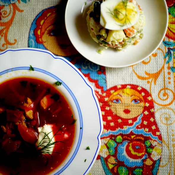 We had the Borscht with an amzing Salad Olivier-Recipe coming soon