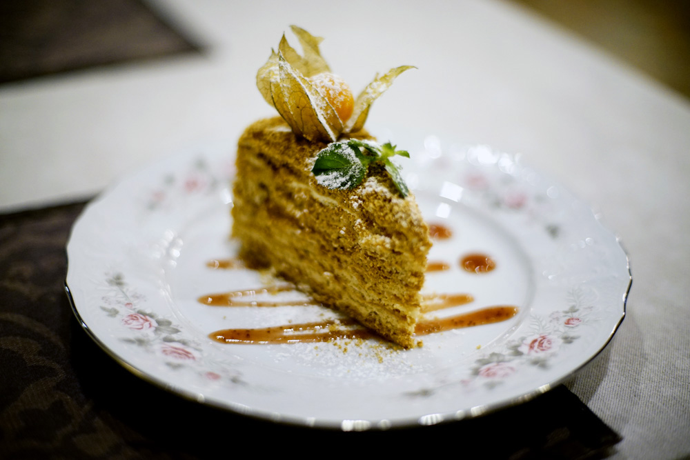 Russian Honey cake at Rassolnik Restaurant in Irkutsk